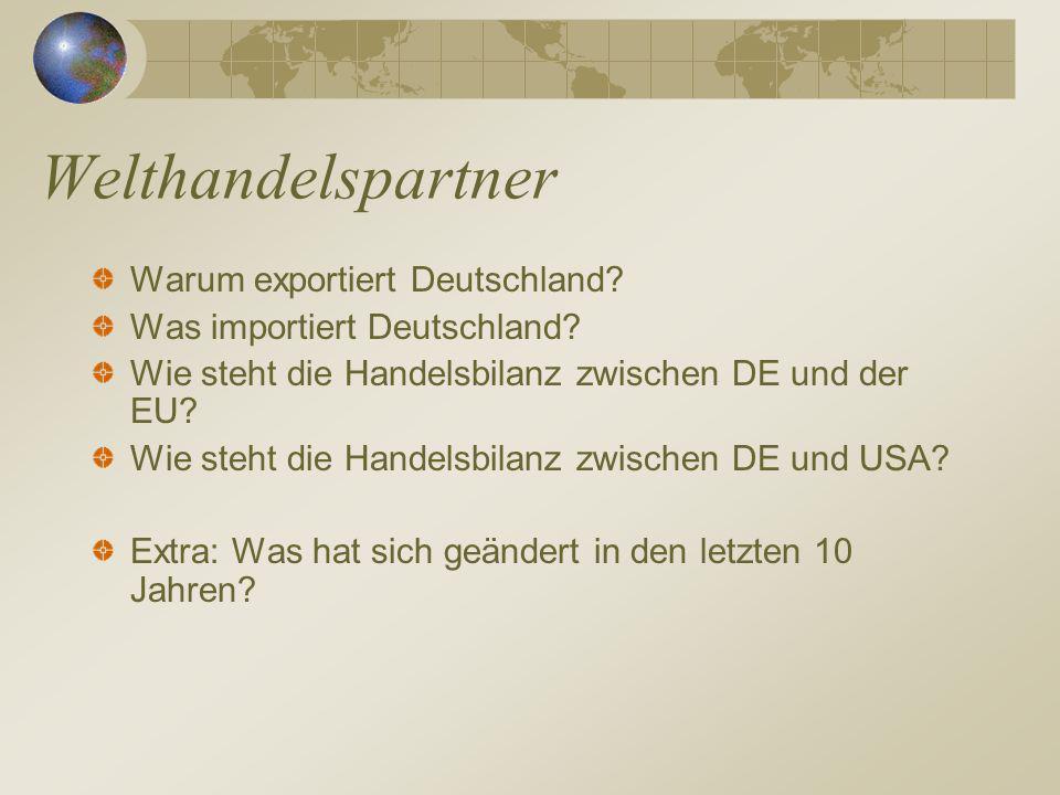 Welthandelspartner Warum exportiert Deutschland? Was importiert Deutschland? Wie steht die Handelsbilanz zwischen DE und der EU? Wie steht die Handels
