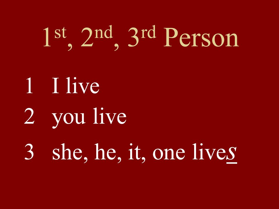 1 st, 2 nd, 3 rd Person 1I live 2you live 3 she, he, it, one live s