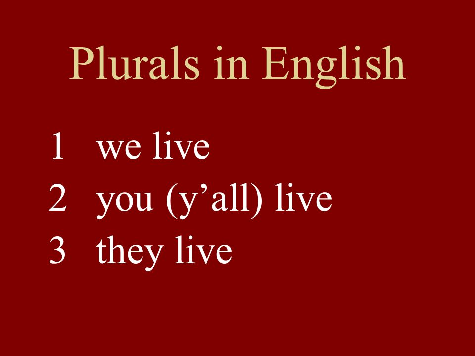 Plurals in English 1we live 2you (yall) live 3 they live
