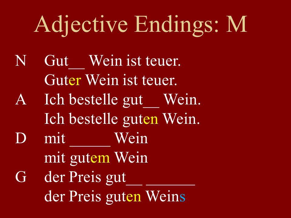 Adjective Endings: M NGut__ Wein ist teuer. Guter Wein ist teuer.