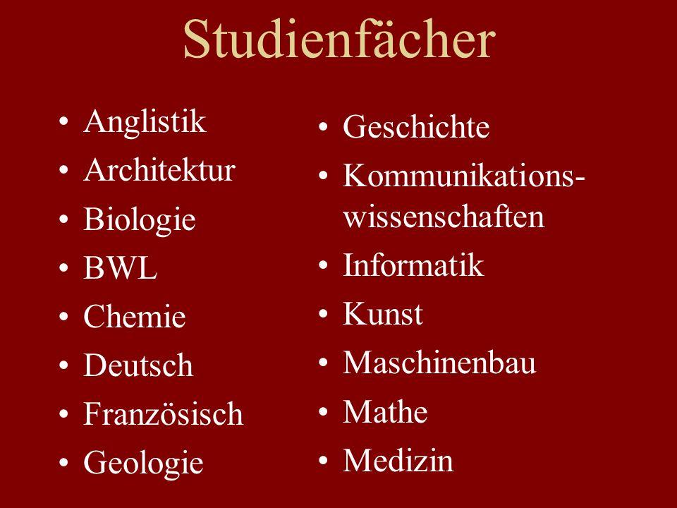 Studienfächer Anglistik Architektur Biologie BWL Chemie Deutsch Französisch Geologie Geschichte Kommunikations- wissenschaften Informatik Kunst Maschinenbau Mathe Medizin