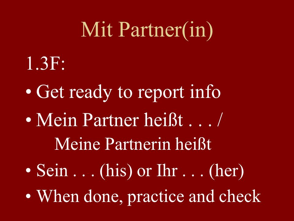 Mit Partner(in) 1.3F: Get ready to report info Mein Partner heißt...