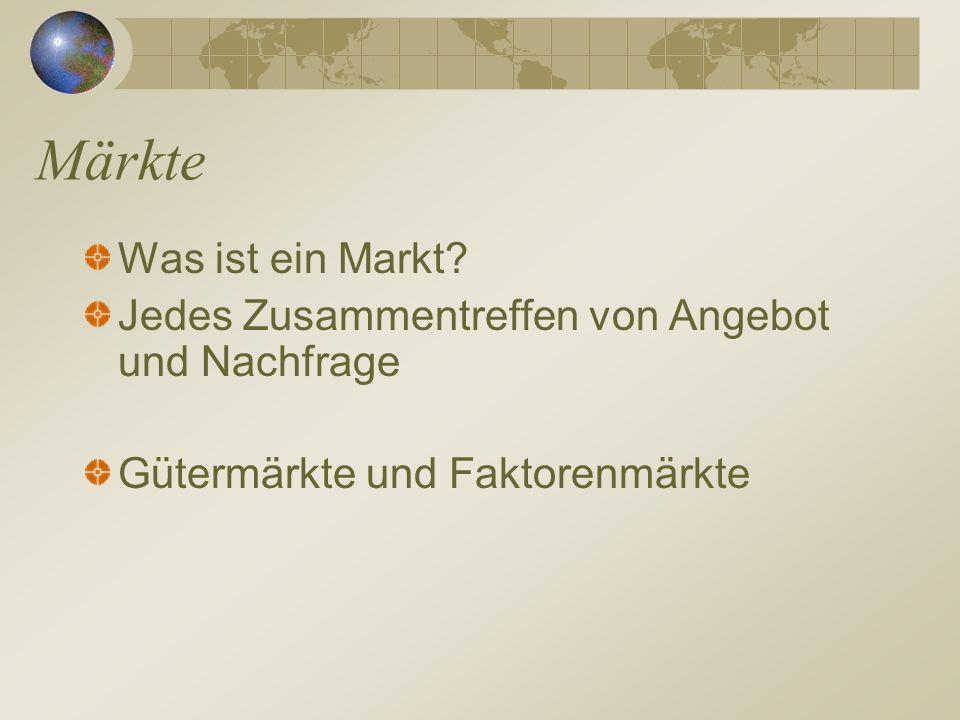 Märkte Was ist ein Markt? Jedes Zusammentreffen von Angebot und Nachfrage Gütermärkte und Faktorenmärkte
