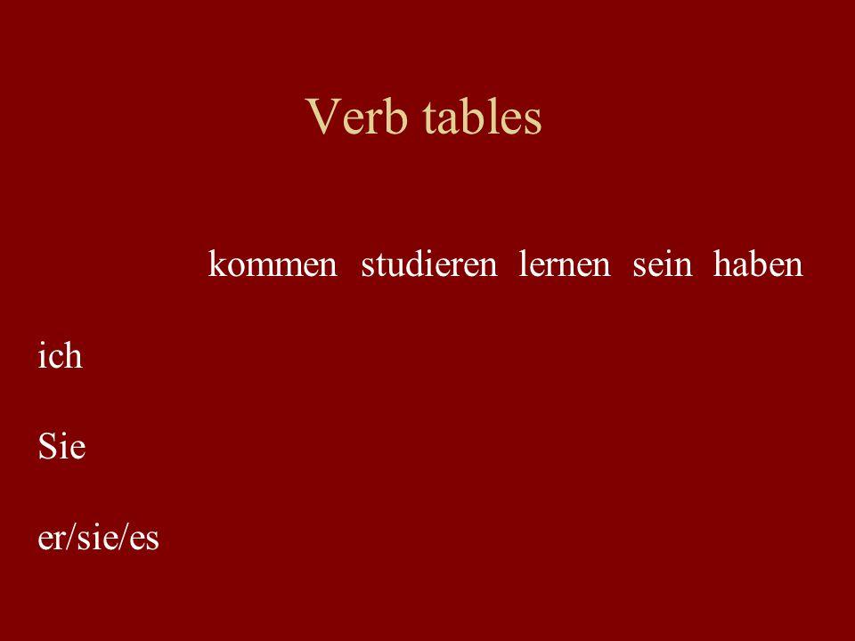 Verb tables kommen studieren lernen sein haben ich Sie er/sie/es