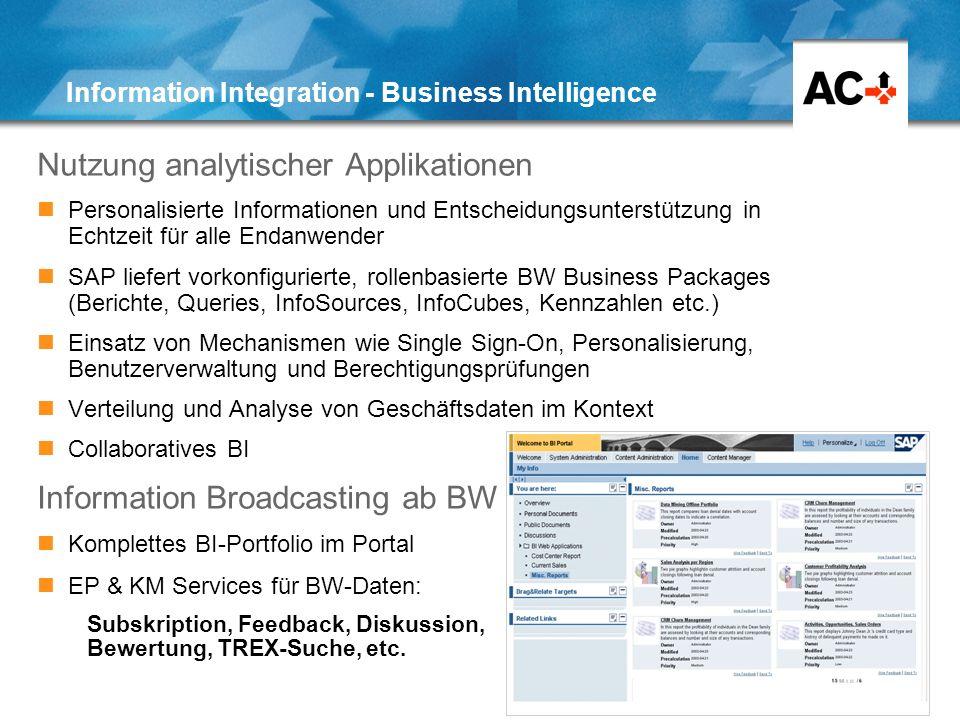 22 Information Integration - Business Intelligence Nutzung analytischer Applikationen Personalisierte Informationen und Entscheidungsunterstützung in