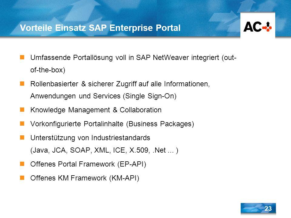 23 Vorteile Einsatz SAP Enterprise Portal Umfassende Portallösung voll in SAP NetWeaver integriert (out- of-the-box) Rollenbasierter & sicherer Zugrif