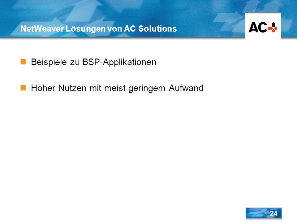 24 NetWeaver Lösungen von AC Solutions Beispiele zu BSP-Applikationen Hoher Nutzen mit meist geringem Aufwand