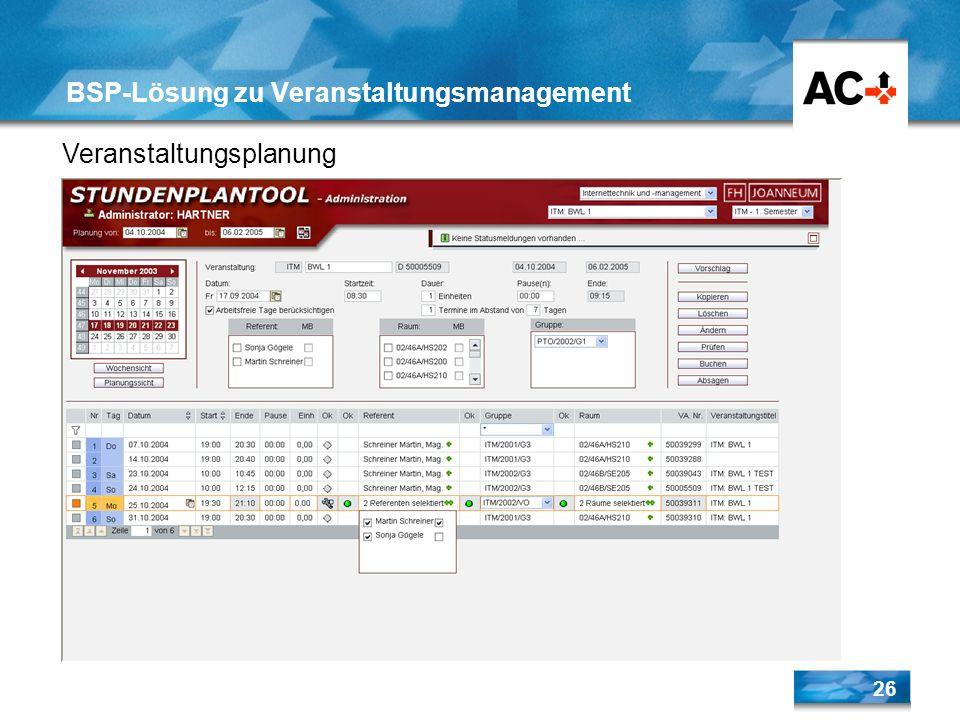26 BSP-Lösung zu Veranstaltungsmanagement Veranstaltungsplanung