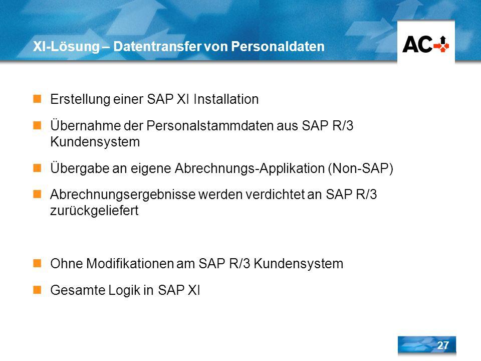 27 XI-Lösung – Datentransfer von Personaldaten Erstellung einer SAP XI Installation Übernahme der Personalstammdaten aus SAP R/3 Kundensystem Übergabe