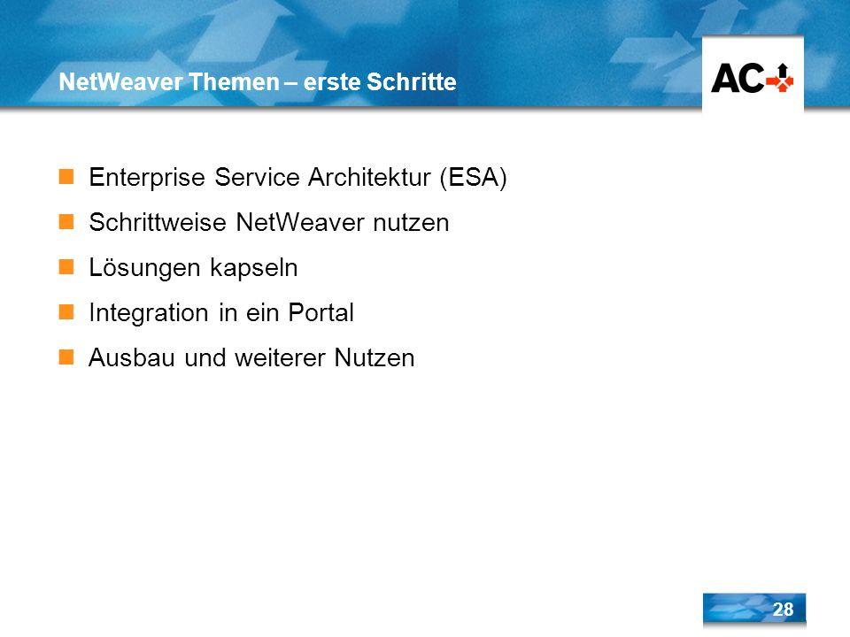 28 NetWeaver Themen – erste Schritte Enterprise Service Architektur (ESA) Schrittweise NetWeaver nutzen Lösungen kapseln Integration in ein Portal Aus