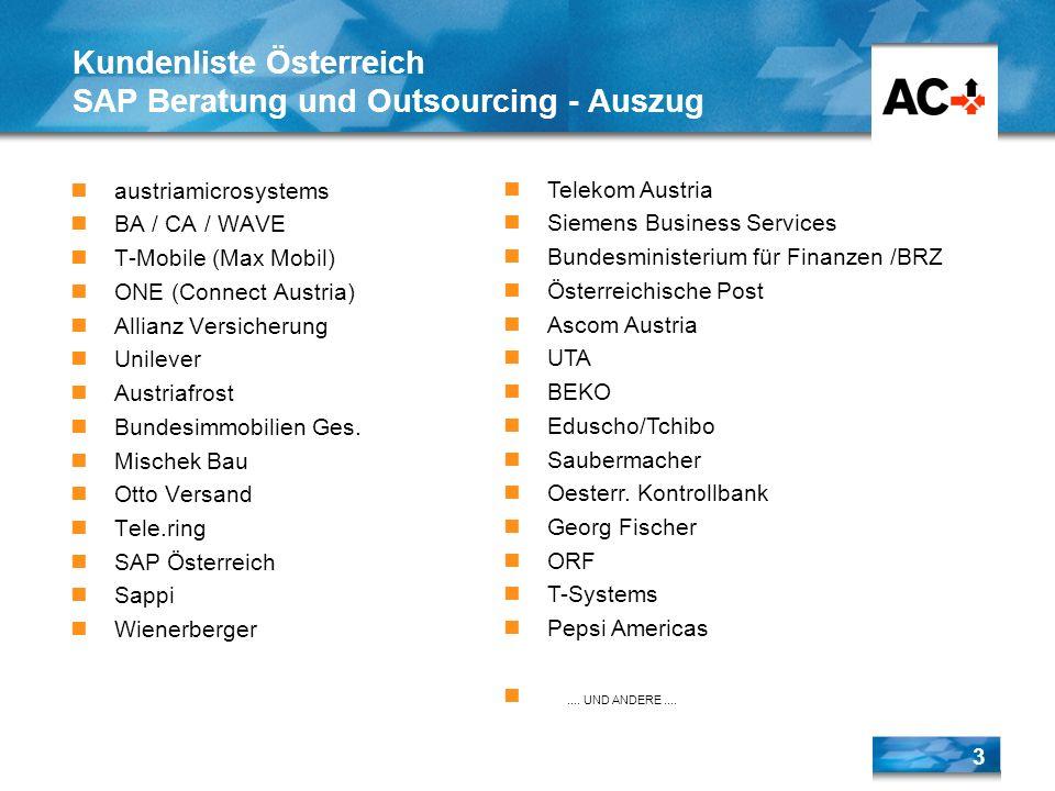 3 austriamicrosystems BA / CA / WAVE T-Mobile (Max Mobil) ONE (Connect Austria) Allianz Versicherung Unilever Austriafrost Bundesimmobilien Ges. Misch