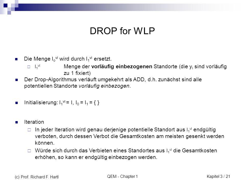 QEM - Chapter 1 DROP for WLP Die Menge I o vl wird durch I 1 vl ersetzt. I 1 vl Menge der vorläufig einbezogenen Standorte (die y i sind vorläufig zu