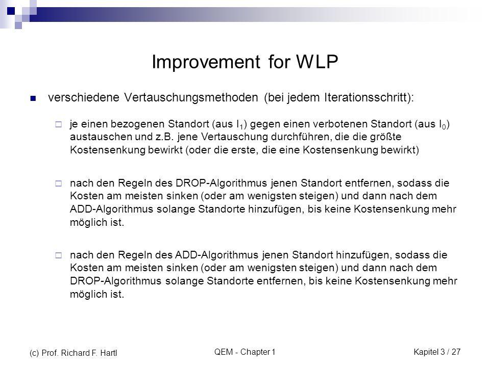 QEM - Chapter 1 Improvement for WLP verschiedene Vertauschungsmethoden (bei jedem Iterationsschritt): je einen bezogenen Standort (aus I 1 ) gegen ein