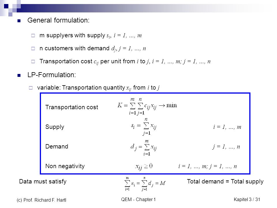 QEM - Chapter 1 General formulation: m supplyers with supply s i, i = 1, …, m n customers with demand d j, j = 1, …, n Transportation cost c ij per unit from i to j, i = 1, …, m; j = 1, …, n variable: Transportation quantity x ij from i to j LP-Formulation: Transportation cost Supply Demand Non negativity i = 1, …, m j = 1, …, n i = 1, …, m; j = 1, …, n Data must satisfyTotal demand = Total supply (c) Prof.
