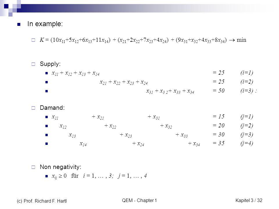 QEM - Chapter 1 In example: Supply: x 11 + x 12 + x 13 + x 14 = 25 (i=1) x 21 + x 22 + x 23 + x 24 = 25 (i=2) x 31 + x 3 2 + x 33 + x 34 = 50 (i=3) :