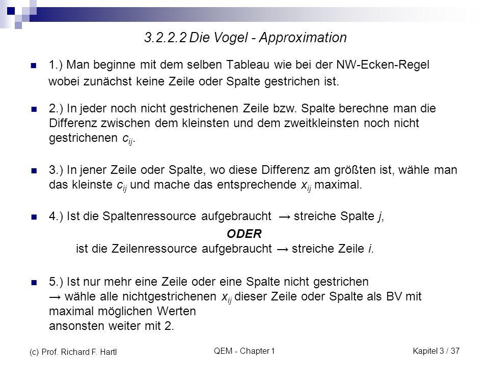 QEM - Chapter 1 1.) Man beginne mit dem selben Tableau wie bei der NW-Ecken-Regel wobei zunächst keine Zeile oder Spalte gestrichen ist. 3.2.2.2 Die V