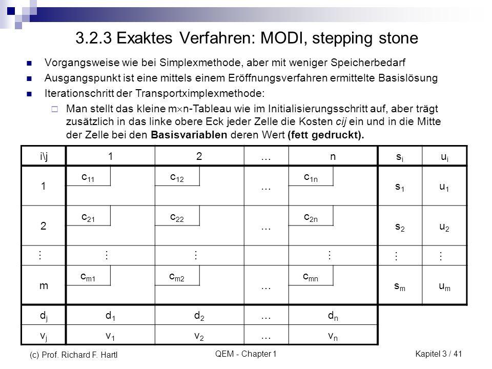 QEM - Chapter 1 3.2.3 Exaktes Verfahren: MODI, stepping stone Vorgangsweise wie bei Simplexmethode, aber mit weniger Speicherbedarf Ausgangspunkt ist