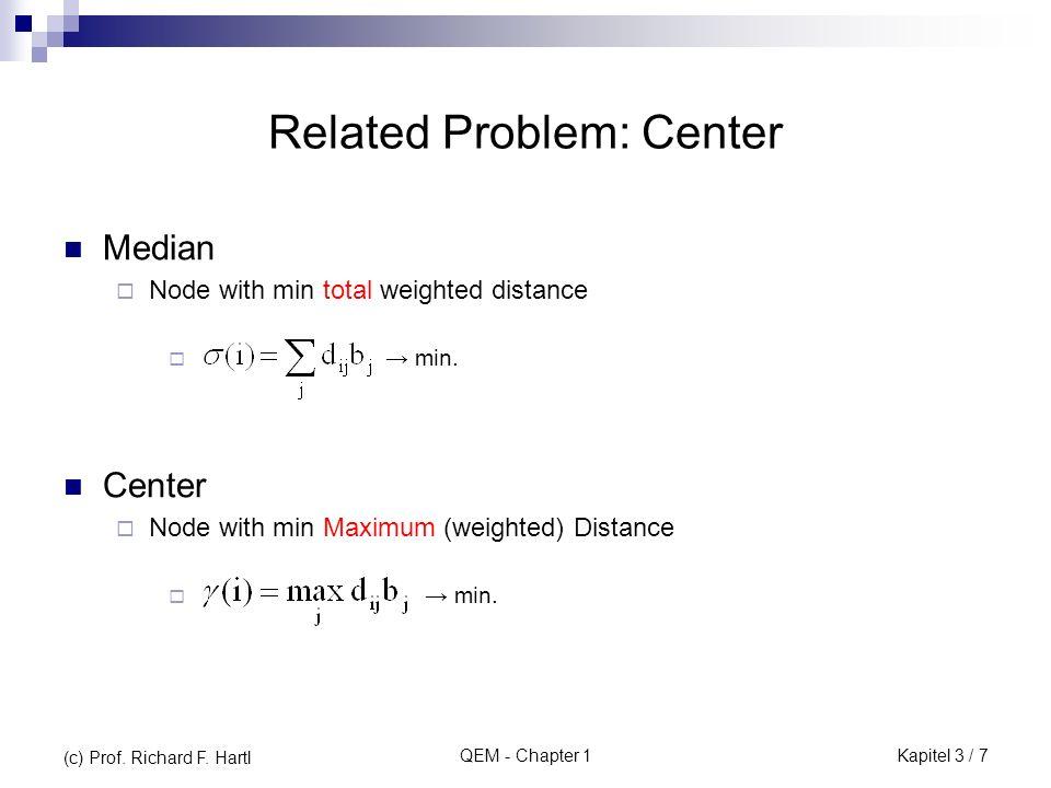 QEM - Chapter 1 Beispiel: Ausgangslösung für das obige Transportproblem i\j1234sisi 125 2 350 djdj 15203035100 20525 1510 25 105611 1274 9148 Opportunitäts kosten Vogel-Approximation sog.
