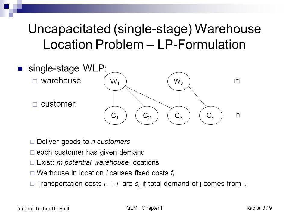 QEM - Chapter 1 Iteration 2: Die durch (die noch nicht endgültig verbotenen) Standorte 1 und 3 maximal möglichen Transportkostenersparnisse zeigt die obige Tabelle.