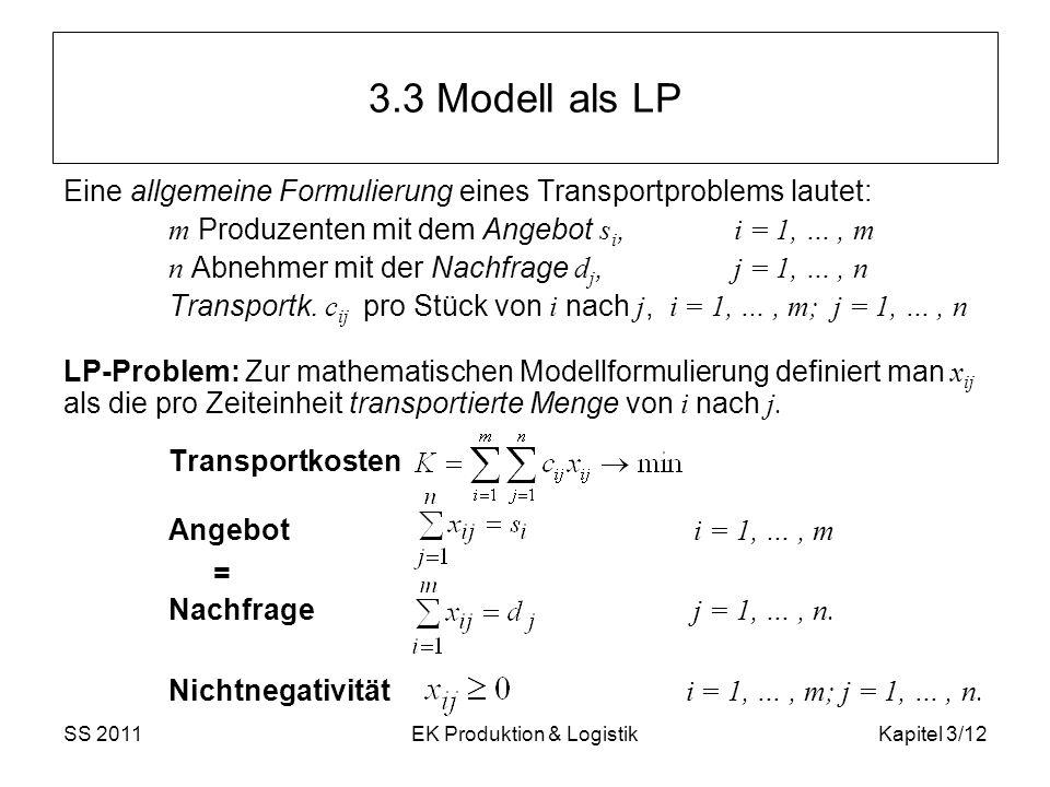 SS 2011EK Produktion & LogistikKapitel 3/12 3.3 Modell als LP Eine allgemeine Formulierung eines Transportproblems lautet: m Produzenten mit dem Angeb