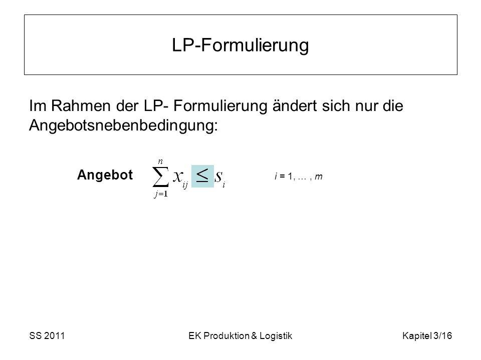 SS 2011EK Produktion & LogistikKapitel 3/16 LP-Formulierung Im Rahmen der LP- Formulierung ändert sich nur die Angebotsnebenbedingung: Angebot i = 1,