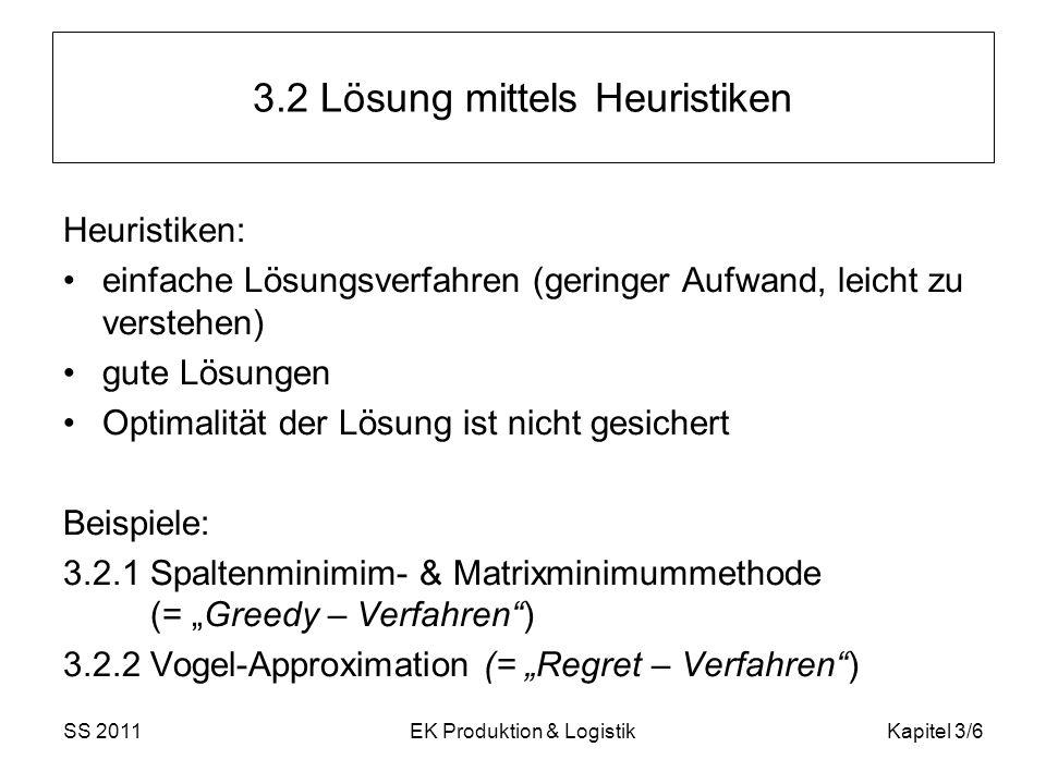 SS 2011EK Produktion & LogistikKapitel 3/6 3.2 Lösung mittels Heuristiken Heuristiken: einfache Lösungsverfahren (geringer Aufwand, leicht zu verstehe