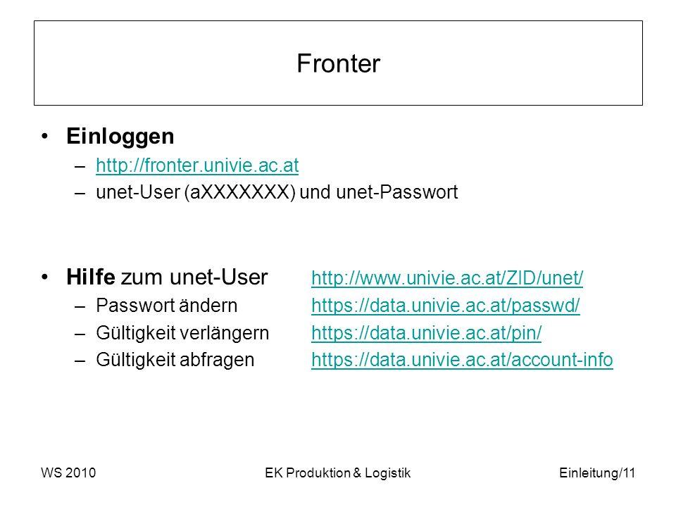 Fronter Einloggen –http://fronter.univie.ac.athttp://fronter.univie.ac.at –unet-User (aXXXXXXX) und unet-Passwort Hilfe zum unet-User http://www.univi