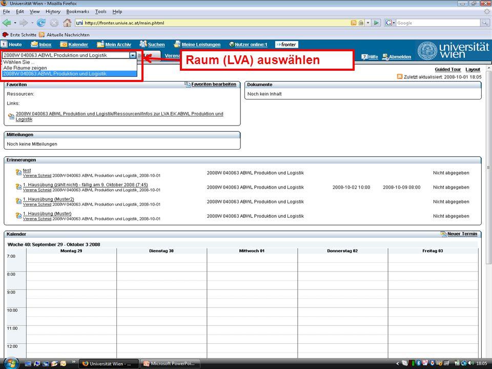 WS 2008EK Produktion & LogistikEinleitung/13 Raum (LVA) auswählen