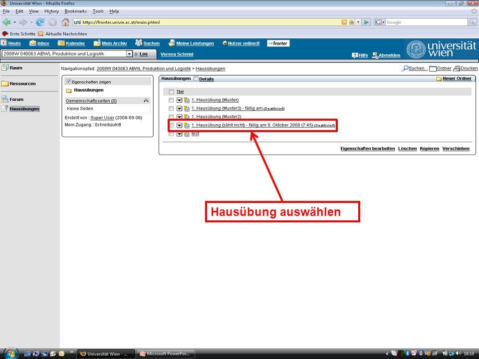 WS 2008EK Produktion & LogistikEinleitung/16 Hausübung auswählen