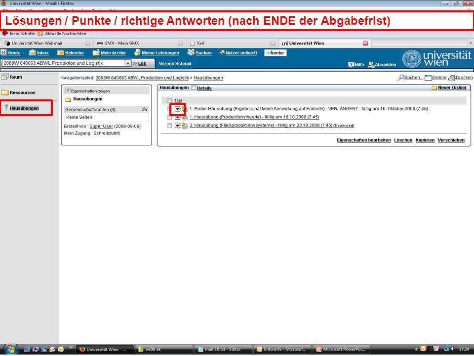 WS 2008EK Produktion & LogistikEinleitung/19 Lösungen / Punkte / richtige Antworten (nach ENDE der Abgabefrist)