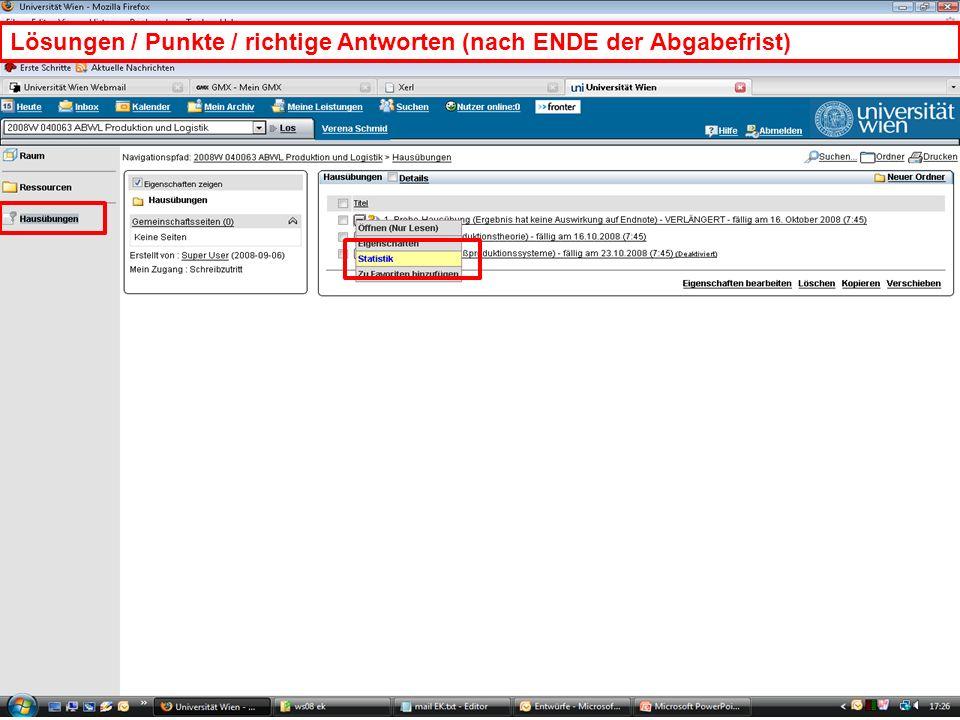 WS 2008EK Produktion & LogistikEinleitung/20 Lösungen / Punkte / richtige Antworten (nach ENDE der Abgabefrist)