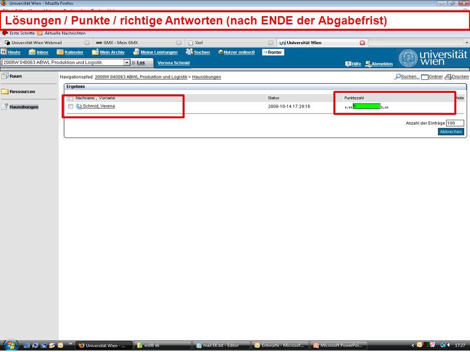 WS 2008EK Produktion & LogistikEinleitung/21 Lösungen / Punkte / richtige Antworten (nach ENDE der Abgabefrist)