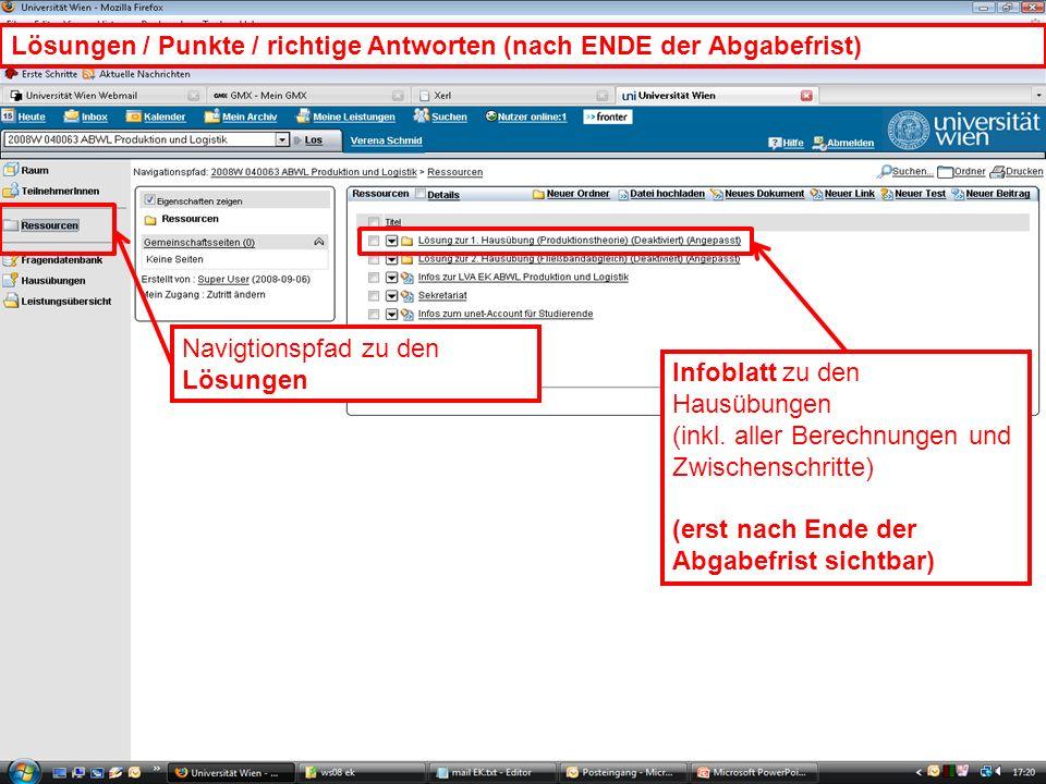 WS 2008EK Produktion & LogistikEinleitung/22 Navigtionspfad zu den Lösungen Infoblatt zu den Hausübungen (inkl. aller Berechnungen und Zwischenschritt