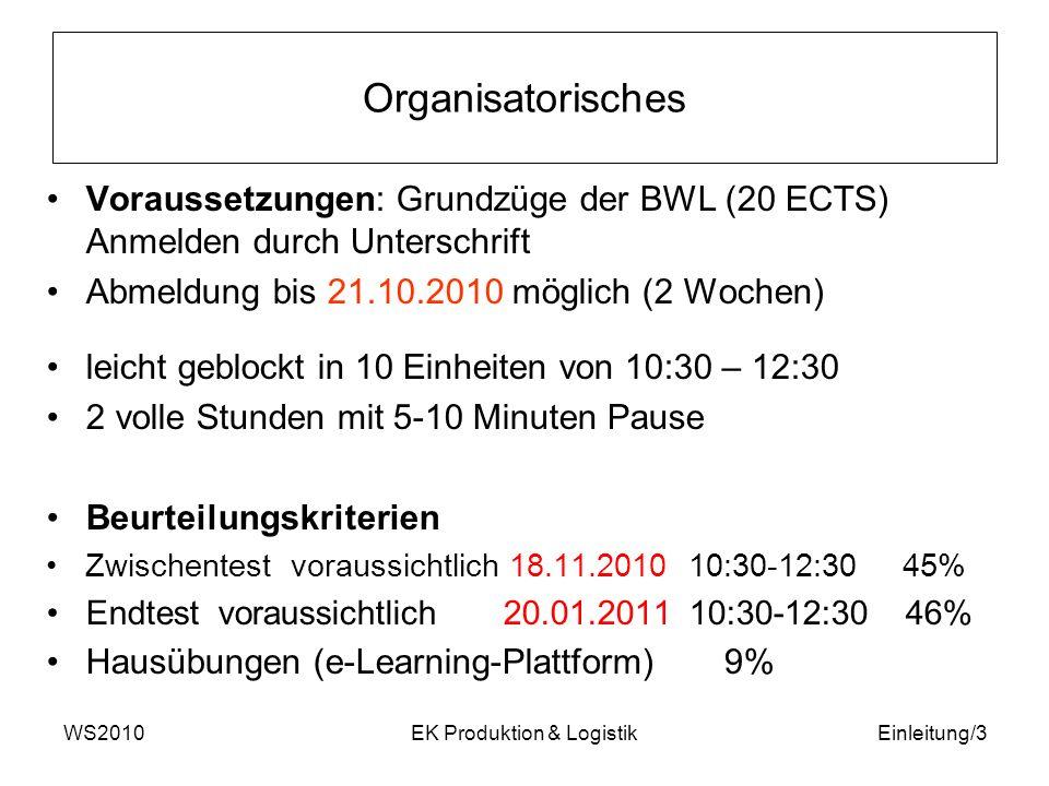 WS2010EK Produktion & LogistikEinleitung/3 Organisatorisches Voraussetzungen: Grundzüge der BWL (20 ECTS) Anmelden durch Unterschrift Abmeldung bis 21