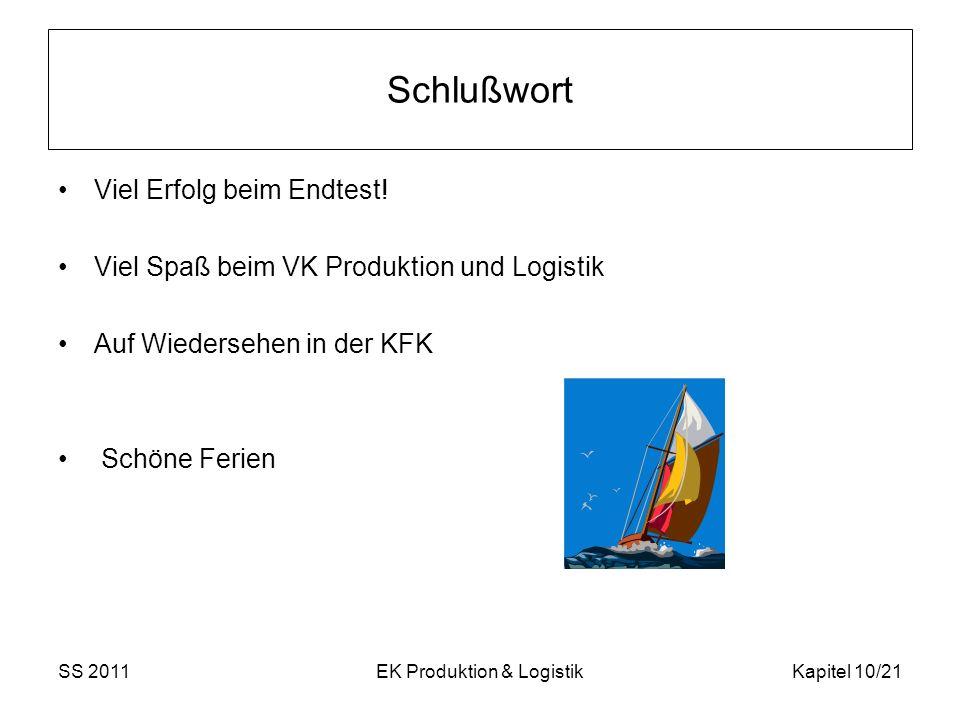SS 2011EK Produktion & LogistikKapitel 10/21 Schlußwort Viel Erfolg beim Endtest.