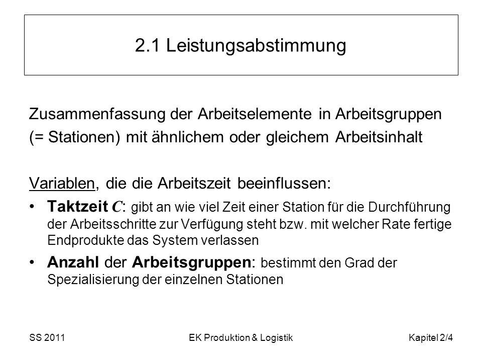 SS 2011EK Produktion & LogistikKapitel 2/4 2.1 Leistungsabstimmung Zusammenfassung der Arbeitselemente in Arbeitsgruppen (= Stationen) mit ähnlichem o