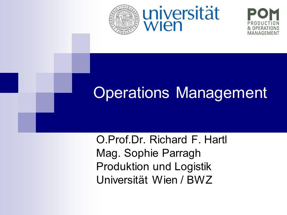 Operations Management O.Prof.Dr. Richard F. Hartl Mag. Sophie Parragh Produktion und Logistik Universität Wien / BWZ