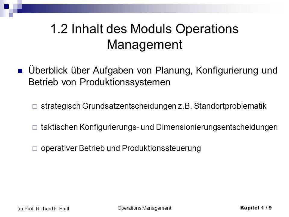 Operations ManagementKapitel 1 / 9 (c) Prof. Richard F. Hartl 1.2 Inhalt des Moduls Operations Management Überblick über Aufgaben von Planung, Konfigu