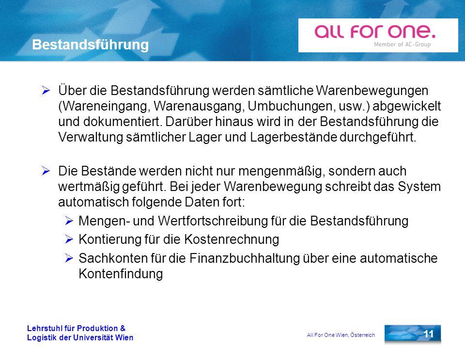 All For One Wien, Österreich 11 Lehrstuhl für Produktion & Logistik der Universität Wien Bestandsführung Über die Bestandsführung werden sämtliche War