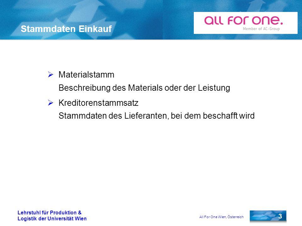 All For One Wien, Österreich 3 Lehrstuhl für Produktion & Logistik der Universität Wien Stammdaten Einkauf Materialstamm Beschreibung des Materials od