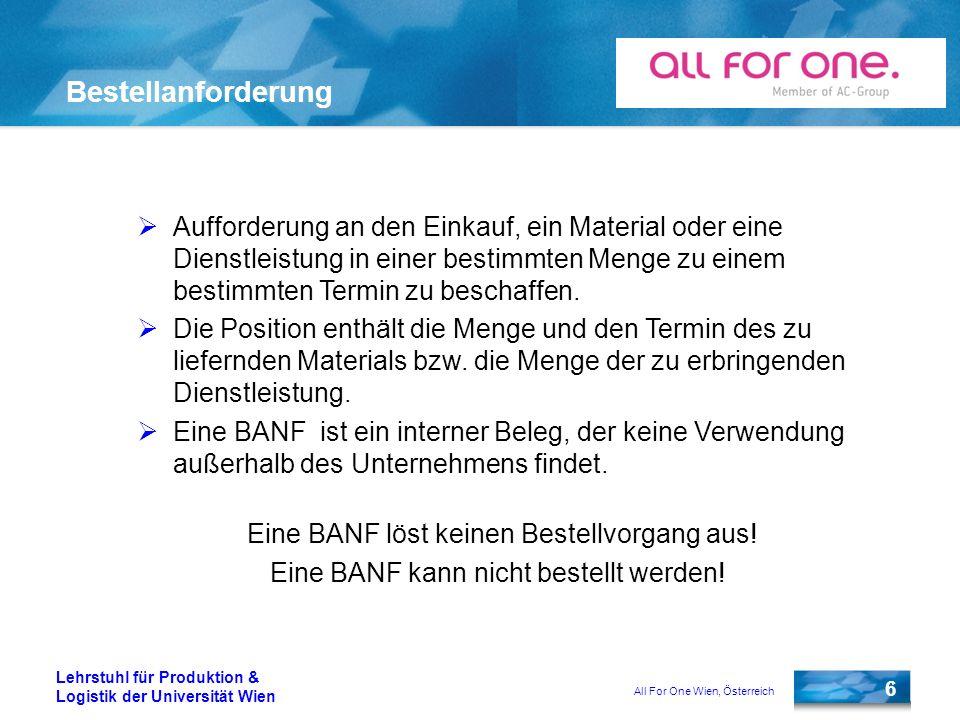 All For One Wien, Österreich 6 Lehrstuhl für Produktion & Logistik der Universität Wien Bestellanforderung Aufforderung an den Einkauf, ein Material o