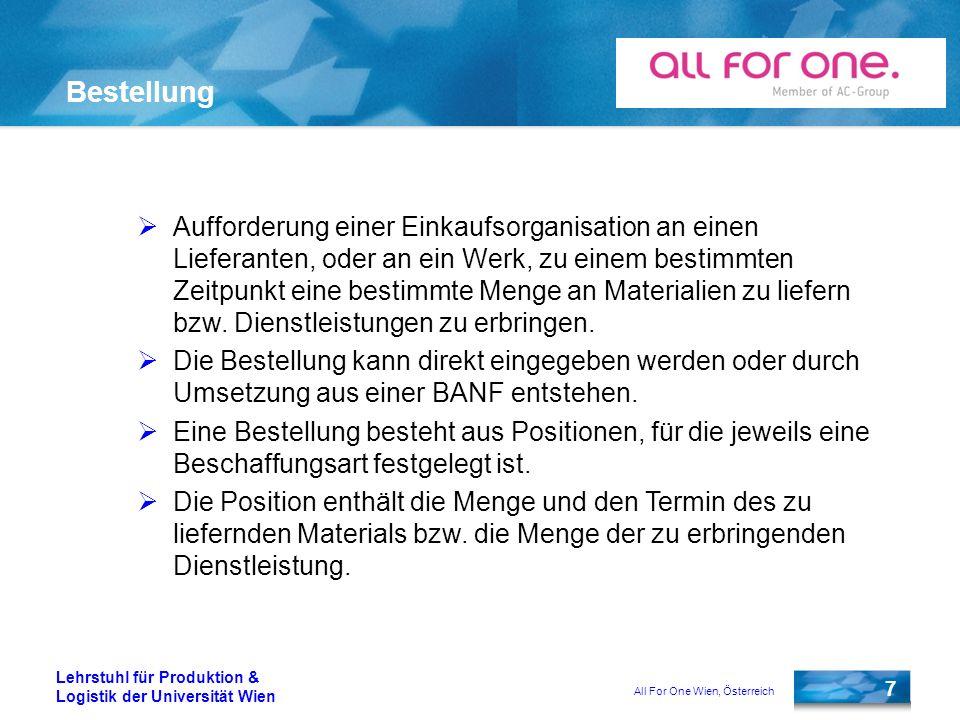 All For One Wien, Österreich 7 Lehrstuhl für Produktion & Logistik der Universität Wien Bestellung Aufforderung einer Einkaufsorganisation an einen Li