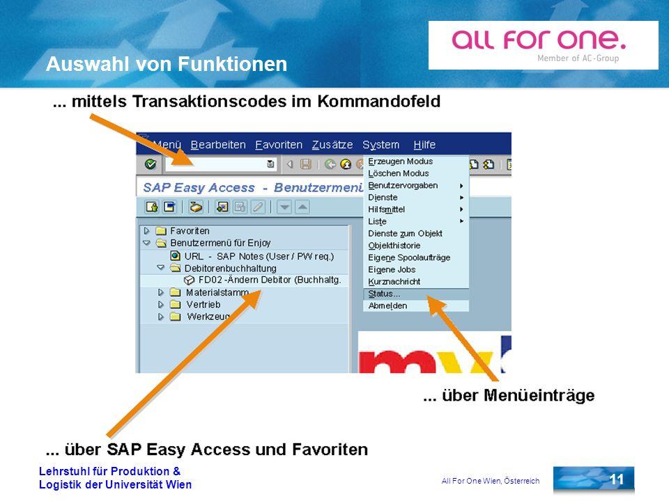 All For One Wien, Österreich 11 Lehrstuhl für Produktion & Logistik der Universität Wien Auswahl von Funktionen