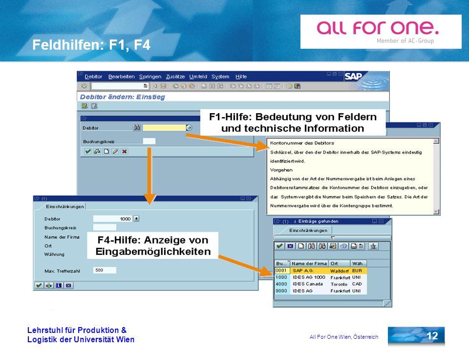 All For One Wien, Österreich 12 Lehrstuhl für Produktion & Logistik der Universität Wien Feldhilfen: F1, F4