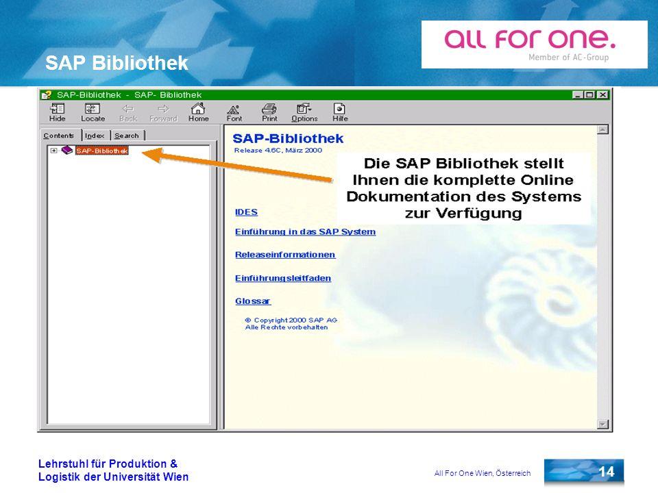All For One Wien, Österreich 14 Lehrstuhl für Produktion & Logistik der Universität Wien SAP Bibliothek