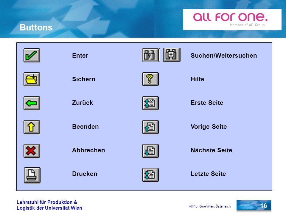All For One Wien, Österreich 16 Lehrstuhl für Produktion & Logistik der Universität Wien Buttons Enter Sichern Zurück Beenden Abbrechen Drucken Suchen