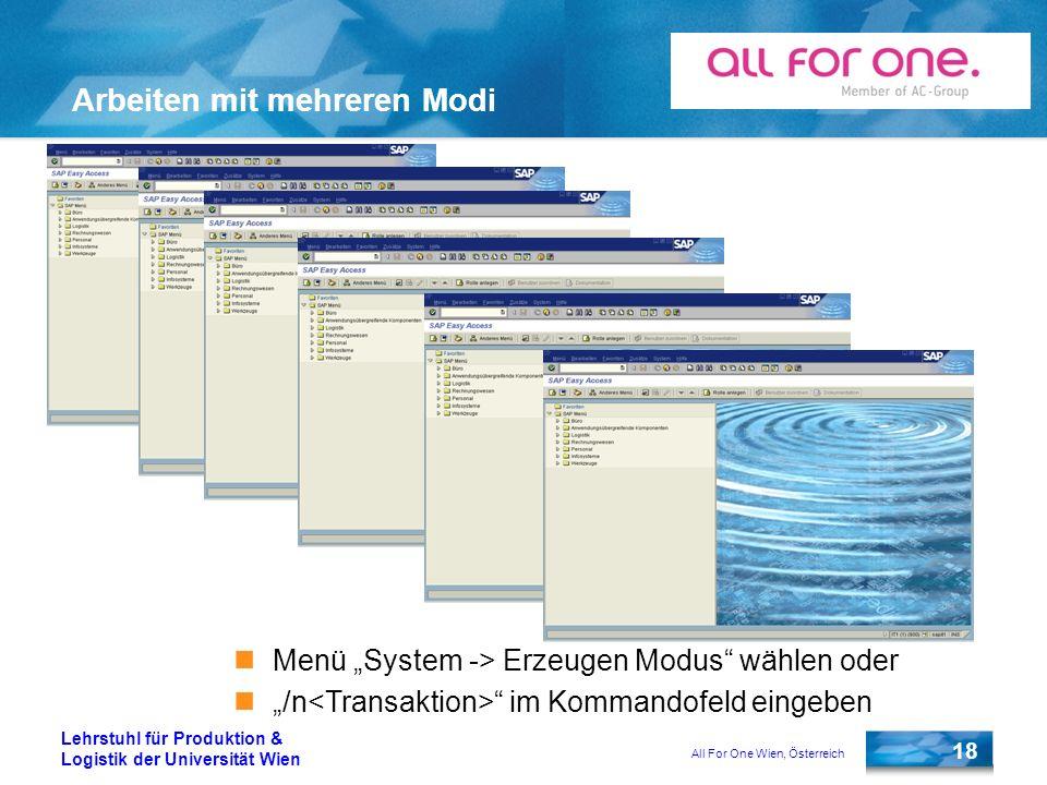 All For One Wien, Österreich 18 Lehrstuhl für Produktion & Logistik der Universität Wien Arbeiten mit mehreren Modi Menü System -> Erzeugen Modus wähl