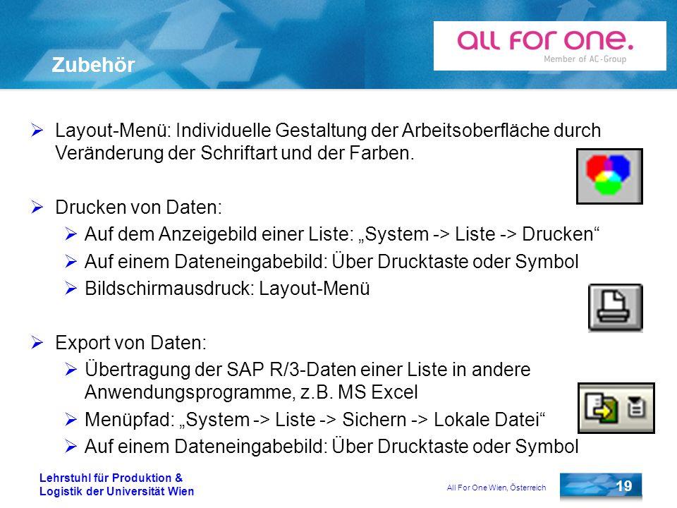 All For One Wien, Österreich 19 Lehrstuhl für Produktion & Logistik der Universität Wien Zubehör Layout-Menü: Individuelle Gestaltung der Arbeitsoberf