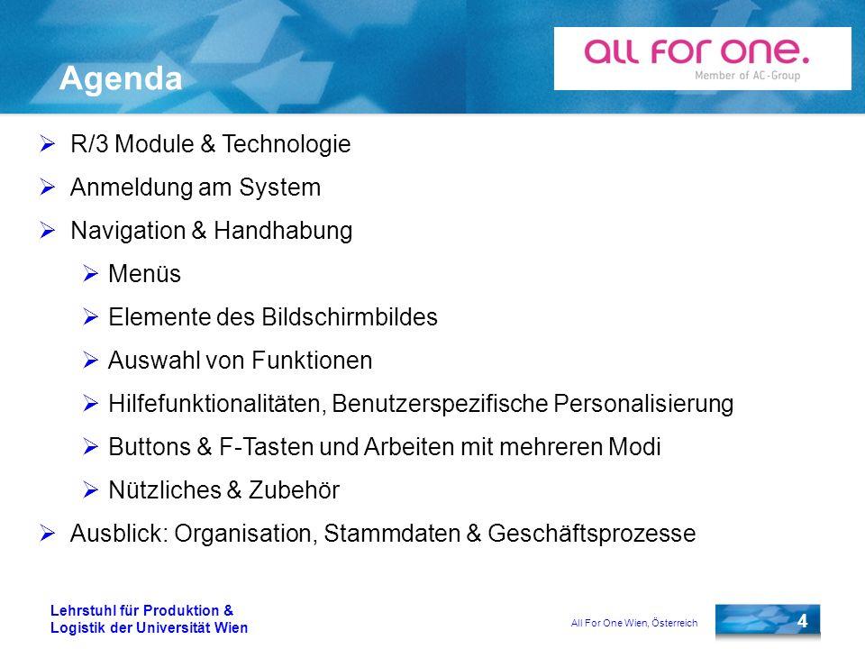 All For One Wien, Österreich 4 Lehrstuhl für Produktion & Logistik der Universität Wien Agenda R/3 Module & Technologie Anmeldung am System Navigation
