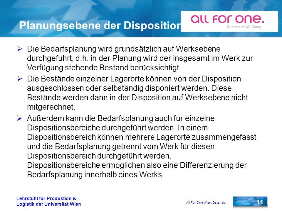 All For One Wien, Österreich 11 Lehrstuhl für Produktion & Logistik der Universität Wien Planungsebene der Disposition Die Bedarfsplanung wird grundsä